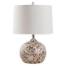 Safavieh Nikki 1-Light Mosaic Shell Table Lamp with Cotton Shade