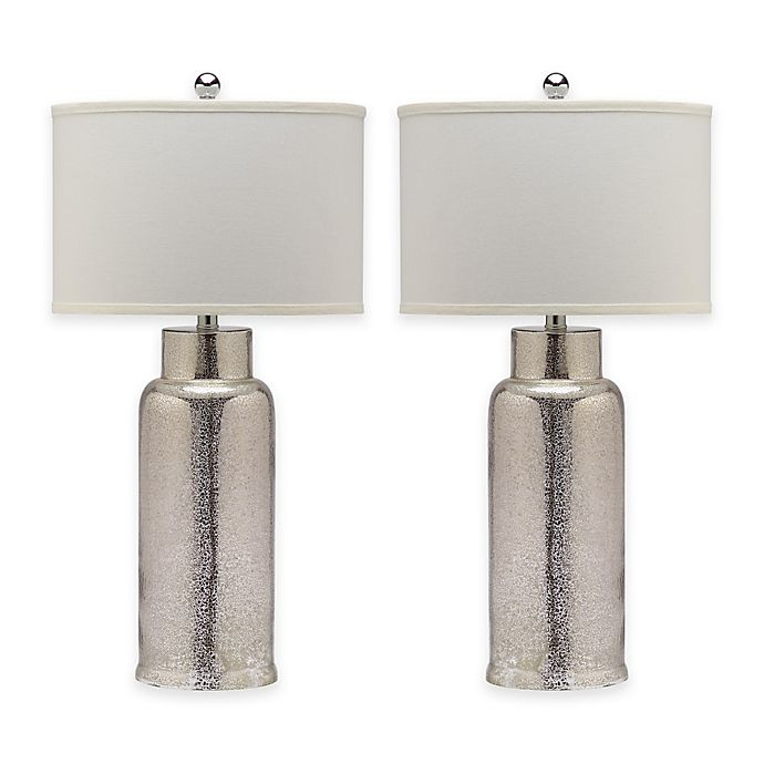 Alternate image 1 for Safavieh Bottle Glass Table Lamp in Bronze with Off-White Drum Shade (Set of 2)