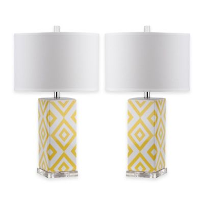 Safavieh Diamonds Table Lamps With Cotton Shade Set Of 2 Bed Bath Beyond