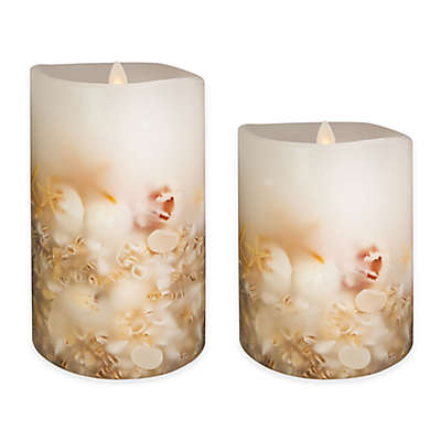 Luminara™ Seashell Pillar Candle in White
