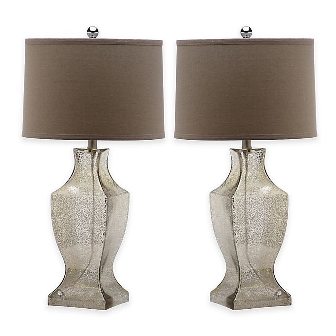 Alternate image 1 for Safavieh Glass Bottom 1-Light Urn Table Lamps in Antique Silver with Cotton Shade (Set of 2)