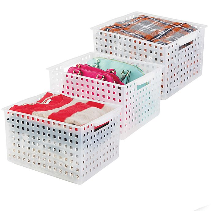 Alternate image 1 for iDesign® Storage Baskets in Clear (Set of 3)