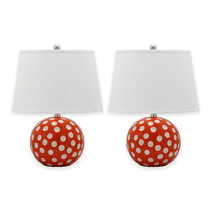 Alternate image 1 for Safavieh Polka Dot 1-Light Round Table Lamps with Cotton Shade (Set of 2)