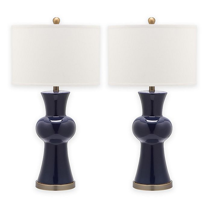 Alternate image 1 for Safavieh Lola Column Table Lamp in Navy with Cotton Shade (Set of 2)