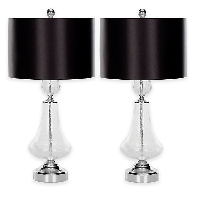 Alternate image 1 for Safavieh Mercury 1-Light Crackle Glass Table Lamps in Clear with Cotton Shade (Set of 2)