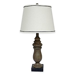 Fangio Lighting Resin Table Lamp in Beige with Hardback Shade
