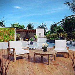 Modway Marina 3-Piece Outdoor Patio Teak Seating Set in Natural/White