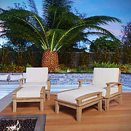 Modway Marina 4-Piece Outdoor Patio Teak Seating Set in Natural/White