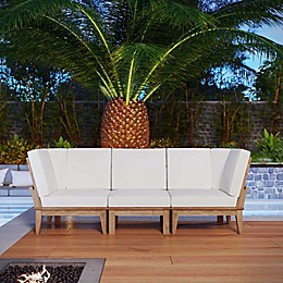Modway Marina 3-Piece Outdoor Patio Teak Conversation Set in Natural/White