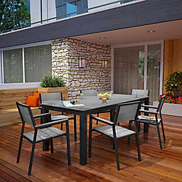 Modway Maine Outdoor 7-Piece 80-Inch Patio Dining Set in Brown/Grey