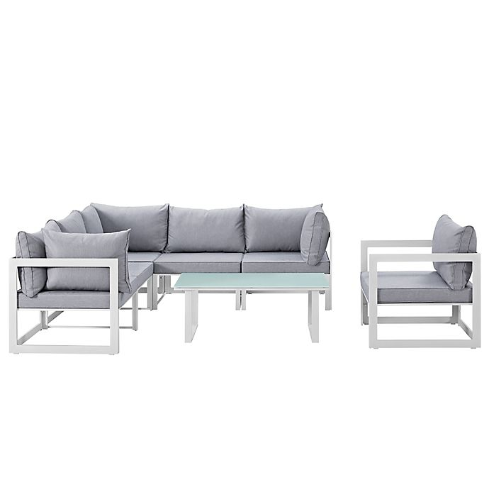 Alternate image 1 for Modway Fortuna Outdoor 7-Piece Patio Sectional Furniture Set in Grey