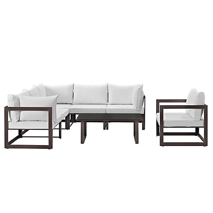 Alternate image 1 for Modway Fortuna Outdoor 7-Piece Patio Sectional Furniture Set in White