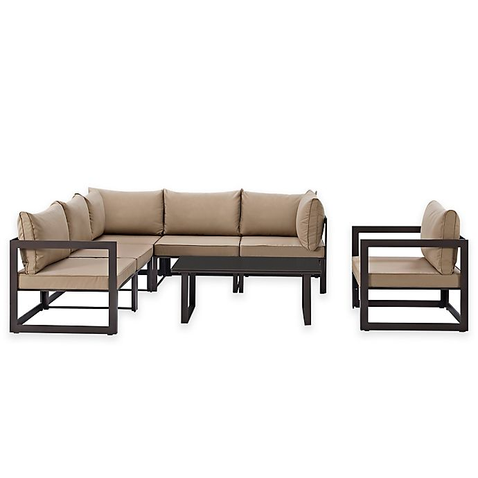 Alternate image 1 for Modway Fortuna Outdoor 7-Piece Patio Sectional Furniture Set in Mocha