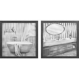 Zhejiang Wadou Creative Art Co. 15-Inch x 30-Inch 2-Pack Bath Framed Wall Art in Grey