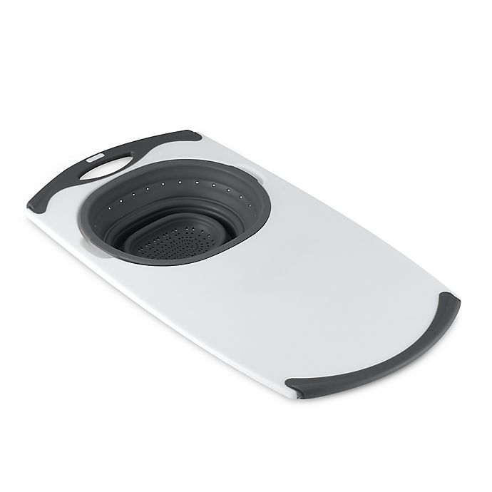 Alternate image 1 for Dexas® Popware™ Over-the-Sink Collapsible Strainer Cutting Board in Grey