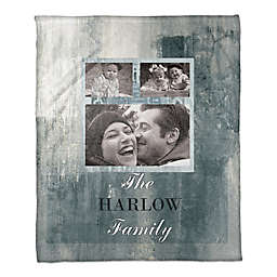 Family Tile Throw Blanket in Blue/White