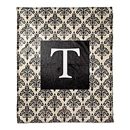 Damask Throw Blanket in Black/Cream