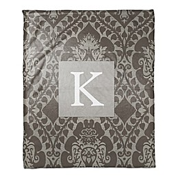 Ornate Monogram Throw Blanket in Brown
