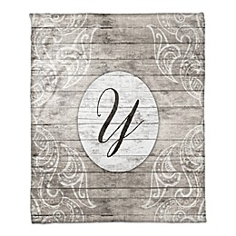 Happily Ever After Monogram Throw Blanket in Grey/White