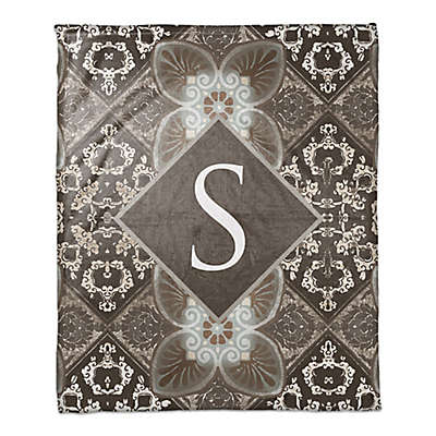 Damask Tiles Throw Blanket in Dark Taupe
