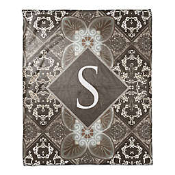 Damask Tiles Throw Blanket in Dark Taupe