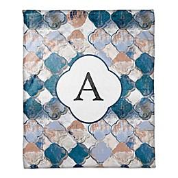 Drippy Quatrefoil Monogram Throw Blanket in Blue/Pink