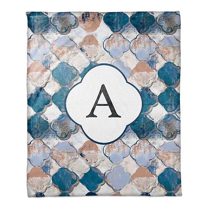 Alternate image 1 for Drippy Quatrefoil Monogram Throw Blanket in Blue/Pink