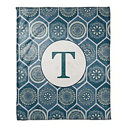 Exotic Emblems Monogram Throw Blanket in Blue