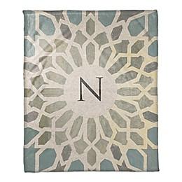 Exotic Tile Throw Blanket in Blue
