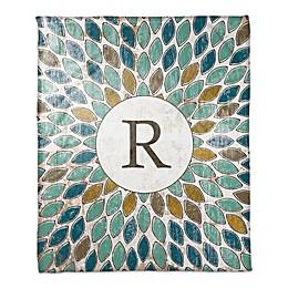Multicolor Leafies Monogram Throw Blanket