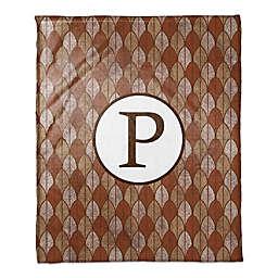 Warm Leaves Monogram Throw Blanket