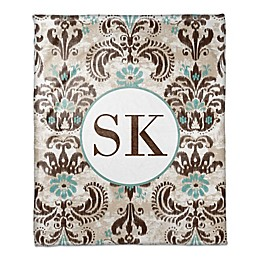 Damask Monogram Throw Blanket in Teal/Brown