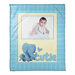 Cutie Elephant Throw Blanket in Blue