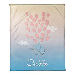Elephant and Balloons Throw Blanket