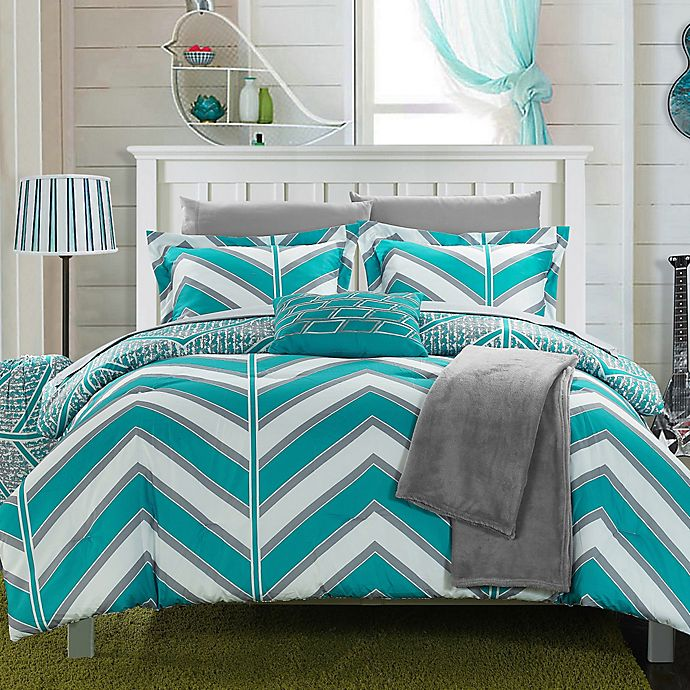 Alternate image 1 for Chic Home Aloretta 8-Piece Reversible Twin/Twin XL Comforter Set in Aqua