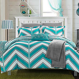 Chic Home Aloretta 8-Piece Reversible Twin/Twin XL Comforter Set in Aqua