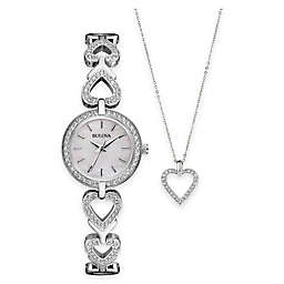 Bulova Ladies' 22mm Crystal-Accented Watch in Stainless Steel and Crystal Heart Pendant Necklace Set