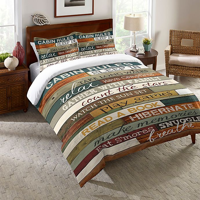 Alternate image 1 for Laural Home® Cabin Rules Twin Comforter in Brown