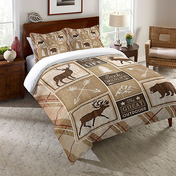 Alternate image 1 for Laural Home® Country Cabin Twin Comforter in Brown