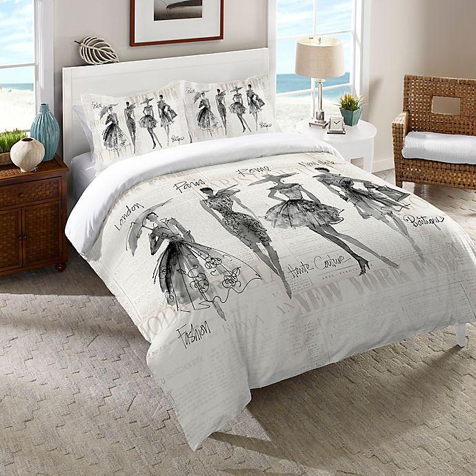 Alternate image 1 for Laural Home Fashion Sketchbook Twin Comforter in Black