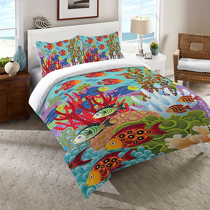 Alternate image 1 for Laural Home® Fish in the Hood Comforter in Teal