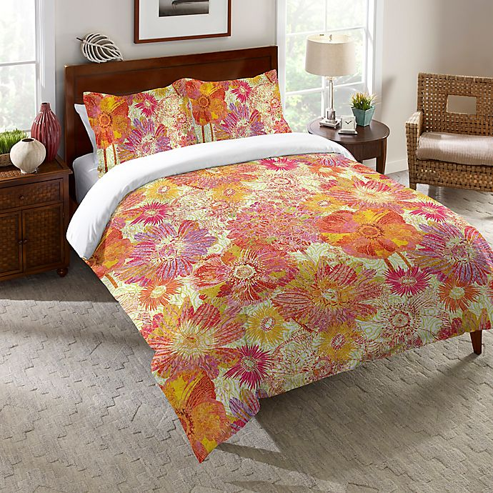 Alternate image 1 for Laural Home® Full Bloom Twin Comforter in Orange