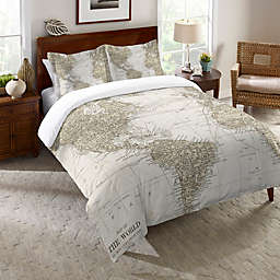 Laural Home Get Out and See the World Reversible Comforter in Beige