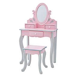 Fantasy Fields by Teamson Kids Little Princess Rapunzel Toy Vanity Set in Pink/Grey