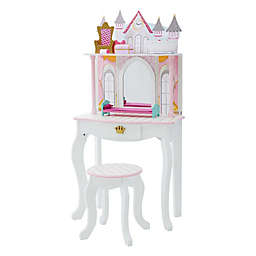 Fantasy Fields by Teamson Kids Dreamland Castle Toy Vanity Set in White/Pink
