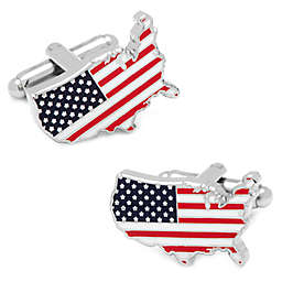 Silver-Plated United States of America Flag Cufflinks