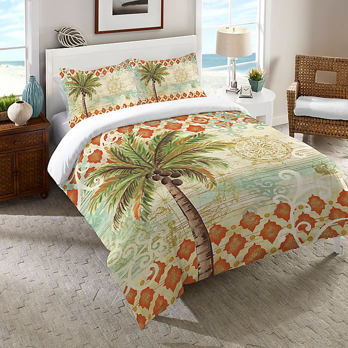 Alternate image 1 for Laural Home® Spice Palm Queen Comforter in Orange