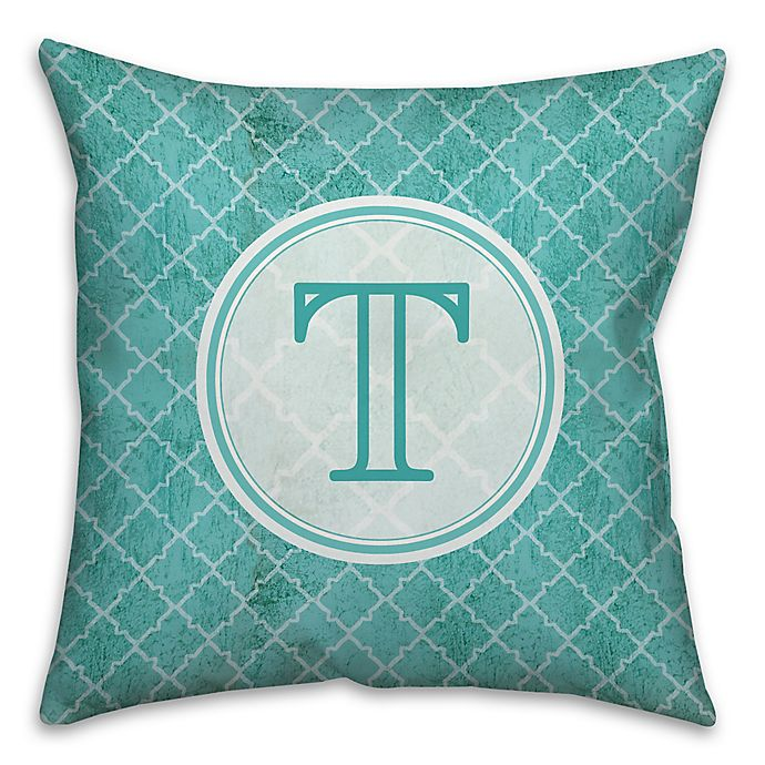Alternate image 1 for Distressed Quatrefoil 16-Inch Square Throw Pillow in Teal/White