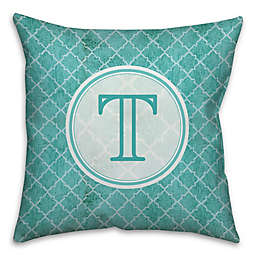 Distressed Quatrefoil Square Throw Pillow in Teal/White