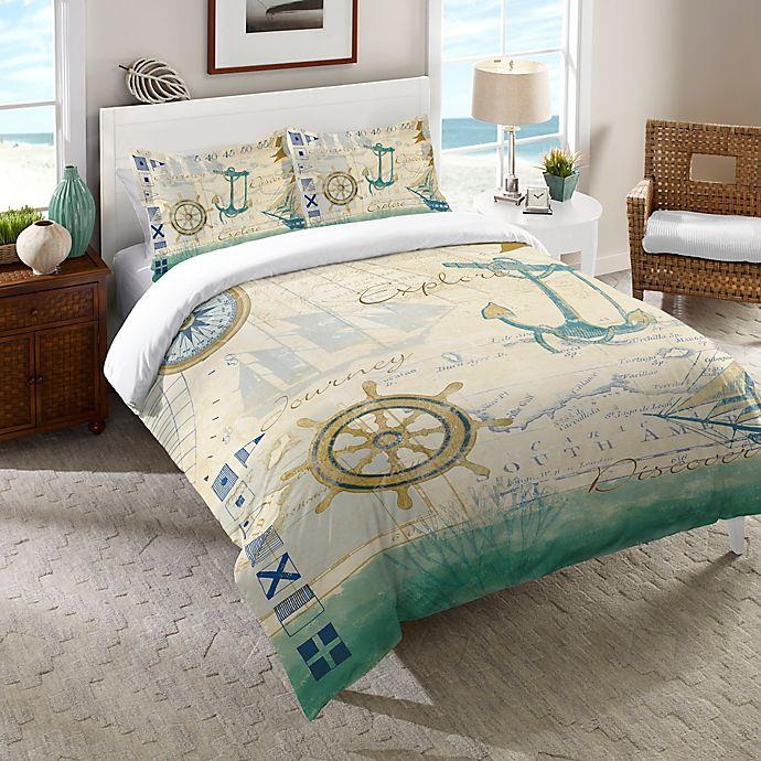 Alternate image 1 for Laural Home® Mariner Sentiment Twin Comforter in Blue